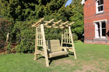 Pergola Swing, wooden garden swinging seat hammock with trellis