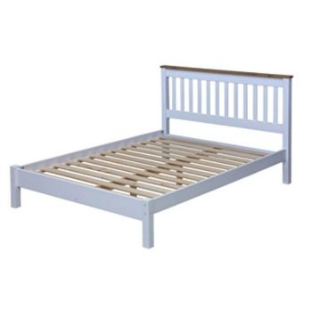 """4'6\"""" Slatted Lowend Bedstead, Painted White & Wax"""