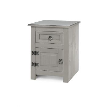 Compact 1 Door, 1 Drawer Bedside Cabinet with Glass