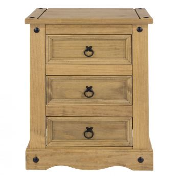 Corona Antique Waxed Pine 3 Drawer Bedside Cabinet