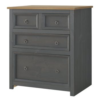 Corona Carbon Grey Washed & Antique Waxed Pine 2+2 Drawer Chest