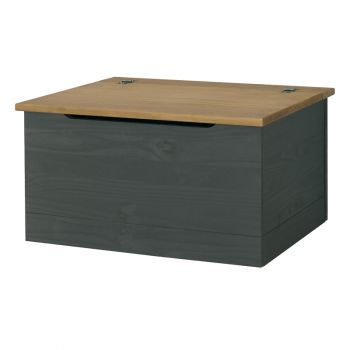 Corona Carbon Grey Washed & Antique Waxed Pine Storage Trunk