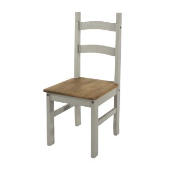 Pair of Chairs Corona Grey Washed Effect Pine Solid Pine Chair