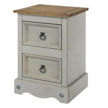 Corona Grey Washed Effect Pine 2 Drawer Petite Bedside Cabinet