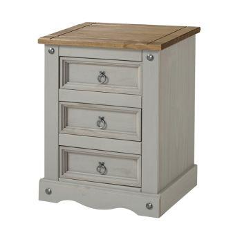 Corona Grey Washed Effect Pine 3 Drawer Bedside Cabinet