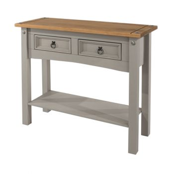 Corona Grey Washed Effect Pine 2 Drawer Hall Table With Shelf