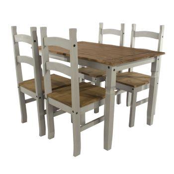 Corona Grey Washed Effect Pine Rectangular Medium Dining Table & 4 Chair Set