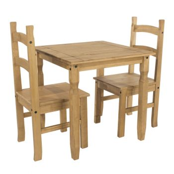 Corona Antique Waxed Pine Square Dining Table & 2 Chair Set