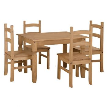 Corona Antique Waxed Pine Rectangular Dining Table & 4 Chair Set