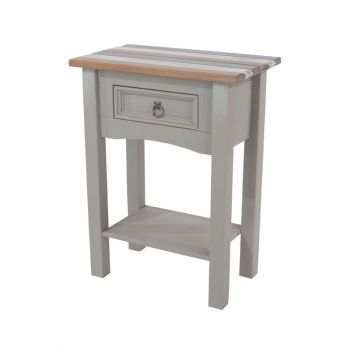 Corona Vintage Mixed Colour Top & Grey Waxed Pine 1 Drawer Hall Table With Shelf