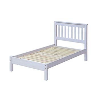 """3'0\"""" Slatted Lowend Bedstead, White Wash Wax Finis"""