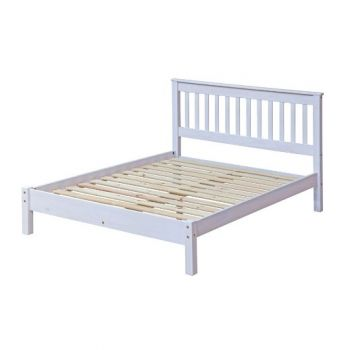 """4'6\"""" Slatted Lowend Bedstead, White Wash Wax Finis"""