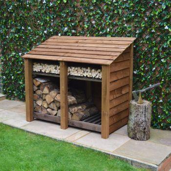 Cottesmore 4ft log store + Kindling Shelf - Rustic Brown