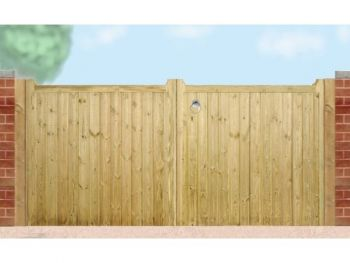 Drayton Low Square Top Driveway Double Gate 330cm Wide x 95cm High