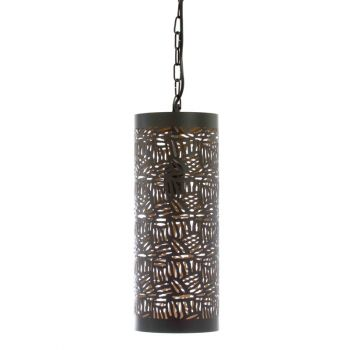 Casablanca Black Hanging Lamp Pipe with Zebra Etching, 15cm Dia.
