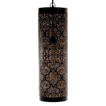 Casablanca Black Hanging Lamp Pipe with Tikoni Etching, 20cm Dia.