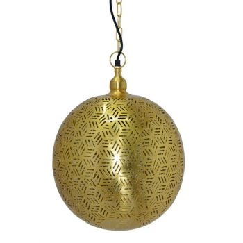 Agadir Gold Hanging Lamp Ball with Hexa Etching