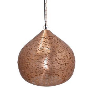 Rabat Rose Gold Hanging Lamp Lattu with Hexa Etching