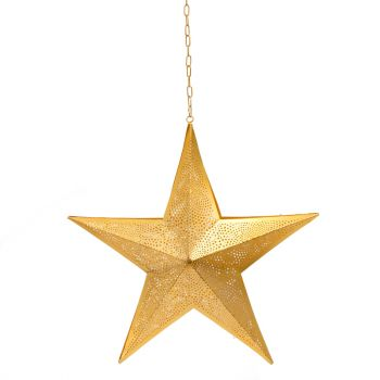 Christmas Gold Hanging Star Lamp with Square