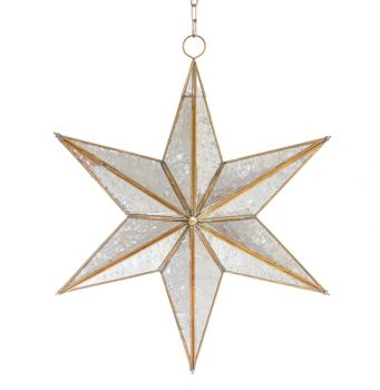 Christmas Silver Antique Hanging Glass Star Lamp 5 Pointed with Red Bead
