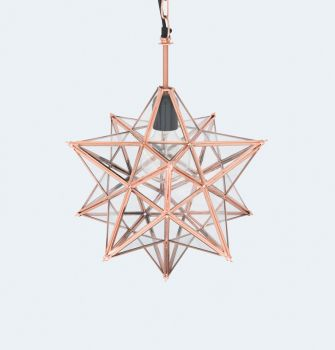 Christmas Copper Frame Hanging Star Lamp 12 Pointed with Clear Glass