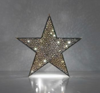 Christmas Silver Table Star Lamp with Mesh Etching and LED