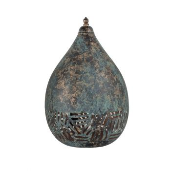 Green Patina Table Lamp Balloon with Half Zebra Etching, 22cm Dia.