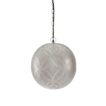 Tiznit Silver Hanging Lamp Ball with Ring Engraving and Drilling, 30cm Dia.