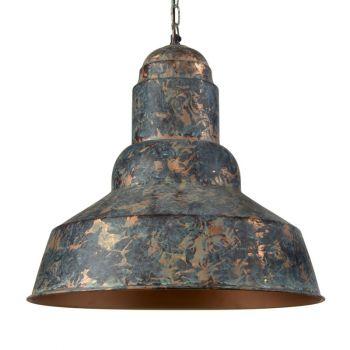 Green Patina Hanging Lamp Shade Bowl with Cylinder Shape Top