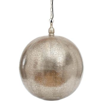 Fez Nickel Hanging Lamp Ball with Mesh Etching, 40cm Dia.