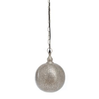 Fez Nickel Hanging Lamp Ball with Mesh Etching, 20cm Dia.