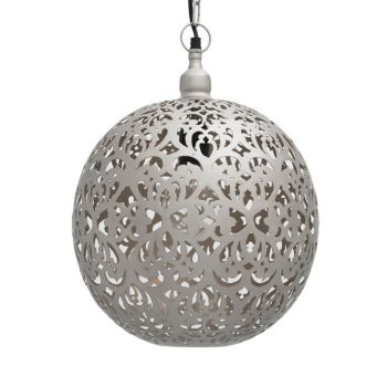 Ancient Marrakesh Hanging Lamp Ball with Heart Etching, 40cm Dia.