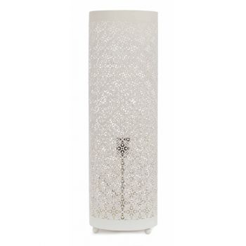 Casablanca White Table Lamp Cylinder with Sqr Flower Etching, 20cm Dia.