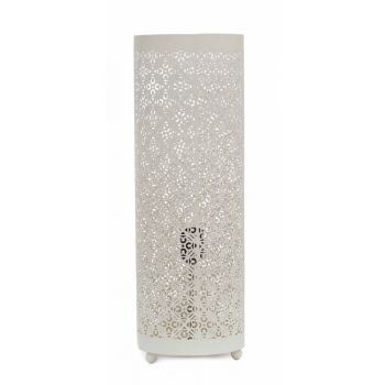 Casablanca White Table Lamp Cylinder with Sqr Flower Etching, 18cm Dia.