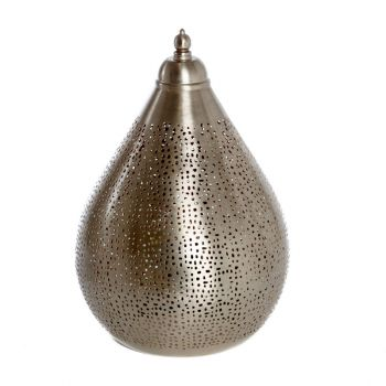 Fez Nickel Table Lamp Drop with Mesh Etching, 22cm Dia.