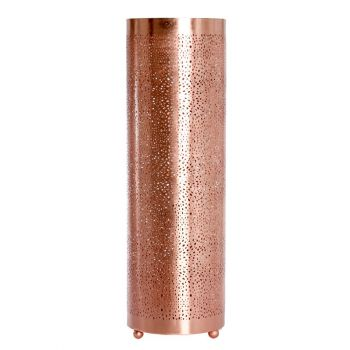 Rabat Rose Gold Table Lamp Cylinder with Mesh Etching, 20cm Dia.