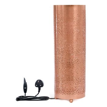 Rabat Rose Gold Table Lamp Cylinder with Mesh Etching, 18cm Dia.