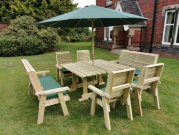 Ergo 8 Seater Square Table Set 4-Chairs 2- 3 Seater Bench