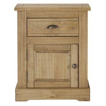 Highland Home FB Assembled Antique Waxed Pine 1 Drawer, 1 Door Bedside Cabinet