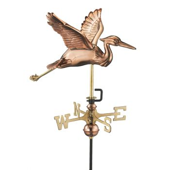 Cottage Heron in Flight Copper Weathervane