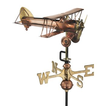 Cottage Bi Plane Copper Weathervane