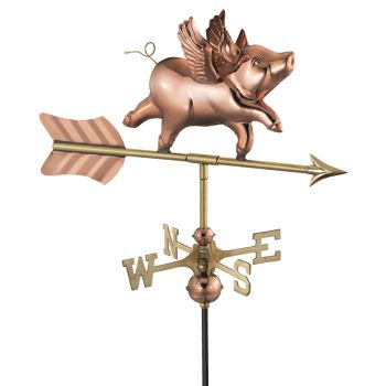 Cottage Flying Pig Copper Weathervane