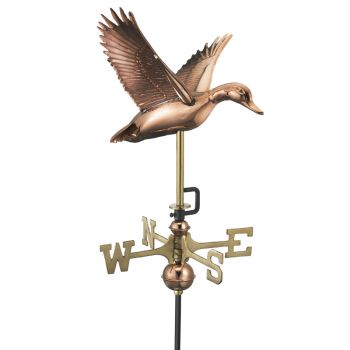 Cottage Duck in Flight Copper Weathervane