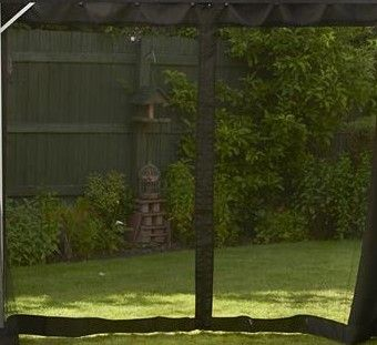 Replacement Black Mosquito Curtains Set For Polycarbonate Gazebo 4 x 3m