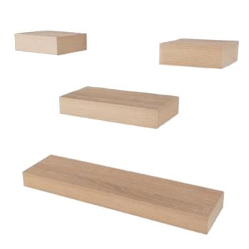 4 Pcs Narrow Hudson Box Shelf Pack - Oak Effect