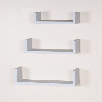 """Hudson Floating \""""U\"""" Shape Shelf Kit in Matt White (Set of 3)"""