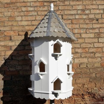 Holton Dovecote Bird House - Octagonal three tier Bird Nest Box Traditional English Pole Mounted Birdhouse for Doves or Pigeons