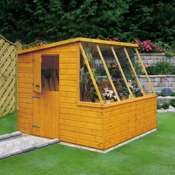 Iceni 8' x 6' Potting Shed Pre Hung Doors with Opening Glass Side Window Style A