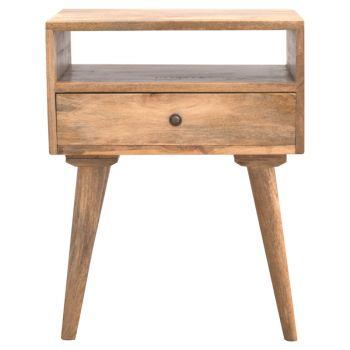 Nordic Designed Bedside with 1 Drawer & Open Slot