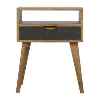Bedside with One Grey Tweed Fabric Drawer Front